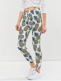 Cheap Beste Online Shopping Sites - Mager Ananasdruk Leggings, Wit Hot Koop 7981