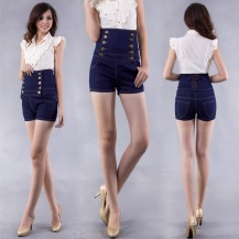 Fashionable-Women-s-Double-Breasted-High-Waist-Denim-Jeans-Shorts-Short-Pants-Trousers-Blue-Black-Free
